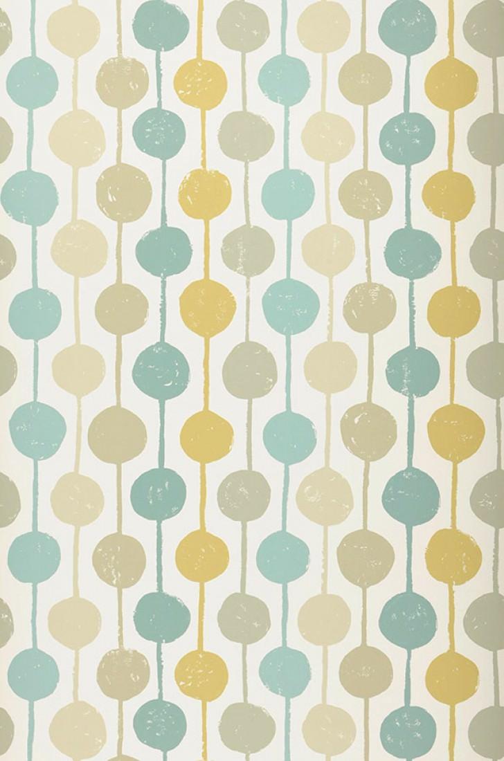 Almeda blanc cr me beige turquoise menthe jaune ocre - Papiers peints des annees 70 ...