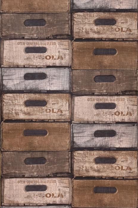 Wallpaper Hector Matt Shabby chic Wooden crates Brown tones