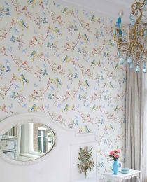Papier peint Audrey blanc crème nacré lustre