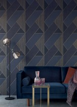 Wallpaper Kolana Matt Geometrical elements Dark blue Gold shimmer