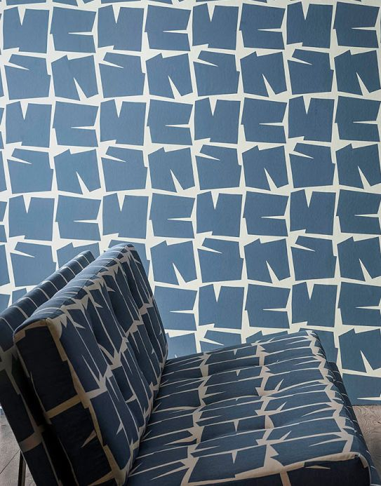 Graphic wallpaper Wallpaper Lavi grey blue Room View
