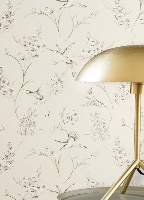 Wallpaper Stela Matt Blossoms Birds Cream Grey Grey beige shimmer White