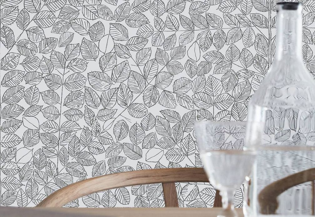 Botanical Wallpaper Wallpaper Zilan anthracite Room View