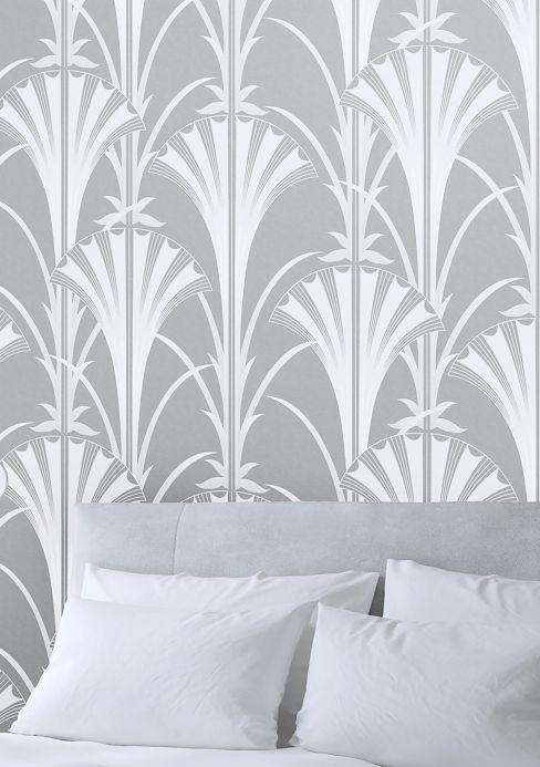 Papel pintado clásico Papel pintado Morley gris plateado Ver habitación