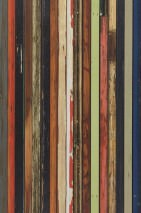 Wallpaper Scrapwood 15 Matt Shabby chic Imitation wood Blue Brown tones Green Red Black