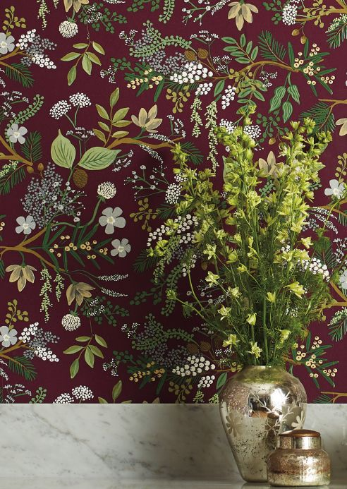 Country style Wallpaper Wallpaper Juniper Forest pale claret violet Room View