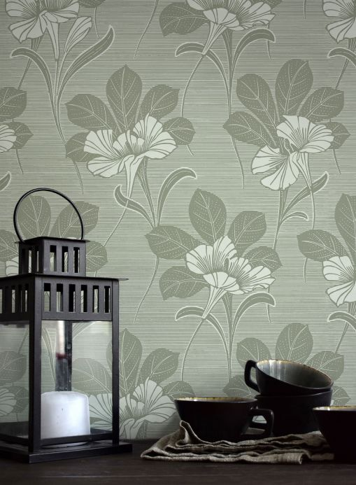 Papier peint floral Papier peint Esther vert gris Vue pièce