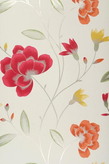 Wallpaper Madelaine Matt Flowers Cream Strawberry red Green Maize yellow Orange White gold