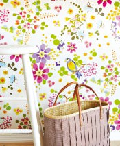 Wallpaper Undine Matt pattern Shimmering base surface Birds Branches with leaves and blossoms Cream Blue lilac Yellow green Light blue Honey yellow Violet