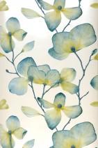Wallpaper Munroe Matt pattern Shimmering base surface Flower tendrils Blossoms Cream Blue Green Curry yellow Green beige Green blue