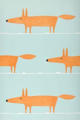 Papel pintado What does the Fox say turquesa pálido Ancho rollo