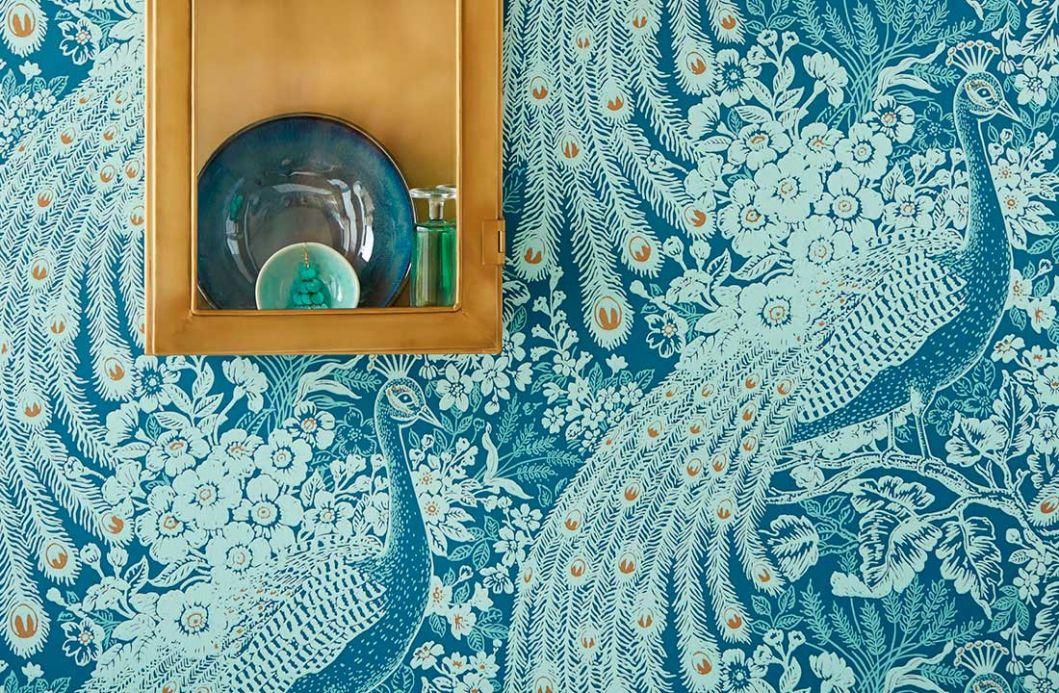 Papier peint avec des animaux Papier peint Izanuela bleu vert Vue pièce