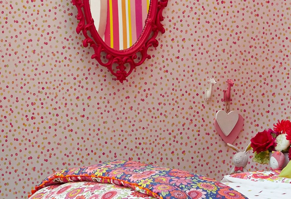 Wallpaper Uncountable Dots Matt Dots Cream Yellow Green Orange Rose Red