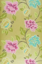 Wallpaper Forseti Hand printed look Matt Flowers Yellow green Green Green yellow Pastel turquoise Pink