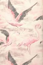 Papel pintado Ketti Mate Flamencos Marrón pálido Blanco crema Gris oscuro Rosa claro Rojo