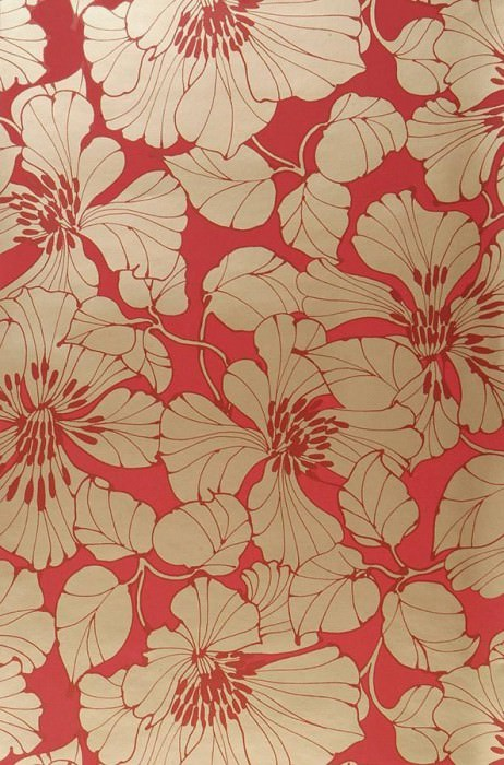 Wallpaper Indra Shimmering pattern Matt base surface Flowers Orient red Gold lustre Red