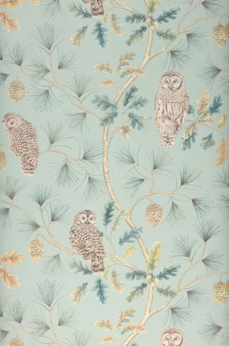 Wallpaper Florentine Matt Owls Branches with leaves and fruit Pale mint green Grey brown Green beige Shades of green Light ivory