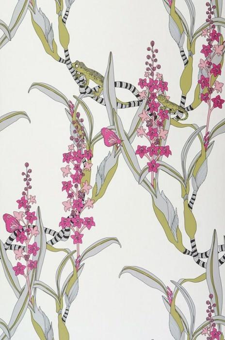 Wallpaper Geckos Matt Geckos Butterflies Tropical plants Cream Pink Reed green Black White aluminium