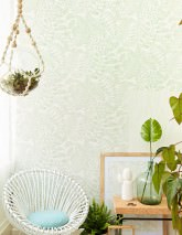 Wallpaper Lioba Matt Leaves Cream Pale green