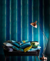 Wallpaper Riconas Shimmering Stripes Ocean blue Pearl beige Turquoise blue