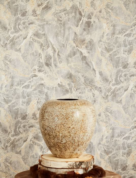 Wallpaper Laurius Matt Imitation marmor Beige Brown beige Grey White