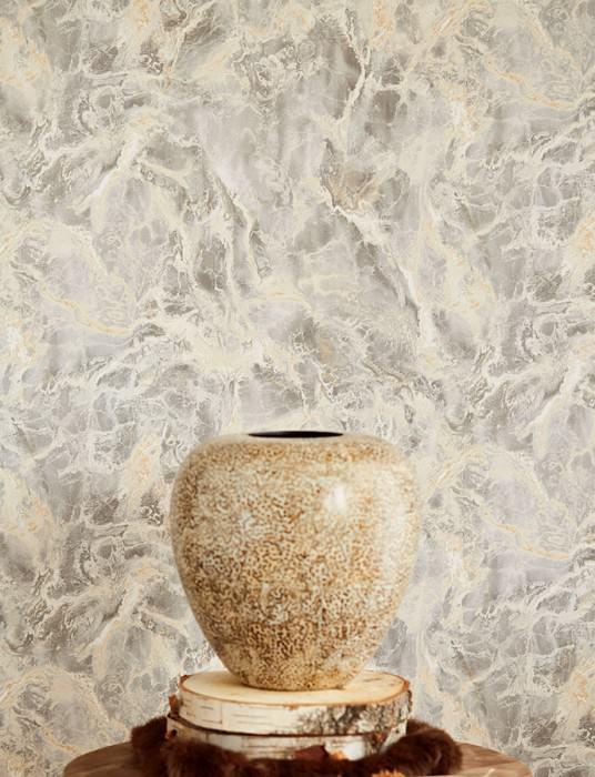 Papier peint Laurius Mat Imitation marbre Beige Beige brun Gris Blanc