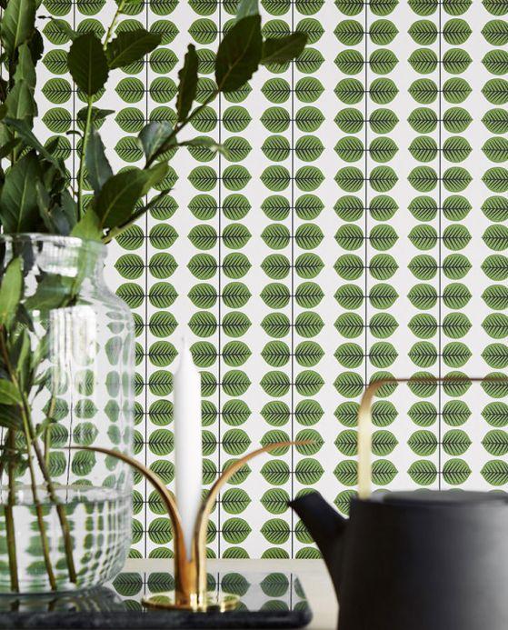 Papel de parede botânico Papel de parede Leonarda verde Ver quarto