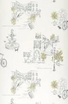 Wallpaper Naples Matt Bicycles Houses Plants Cream Yellow green shimmer Black