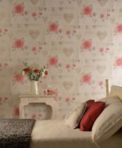 Wallpaper Verala Matt Flowers Hearts Musical Notes Words Cream Grey Grey beige Orient red Rose Silver shimmer