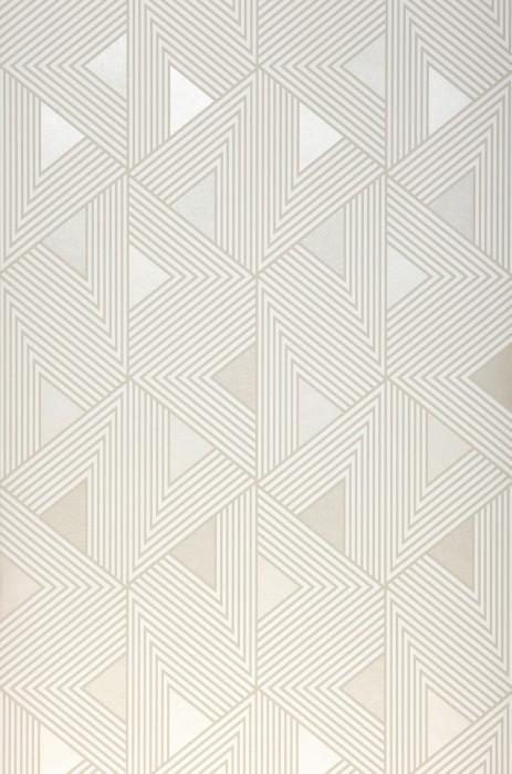 Papier peint Elias Mat Triangles Éléments graphiques Blanc crème Blanc crème brillant Beige gris