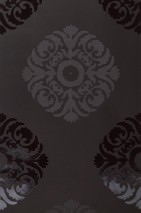 Wallpaper Artemis Shiny pattern Matt base surface Modern damask Anthracite Dark grey Black lacquer