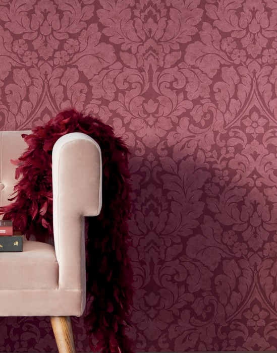 Wallpaper Lumina Matt Floral damask Wine red Light wine red