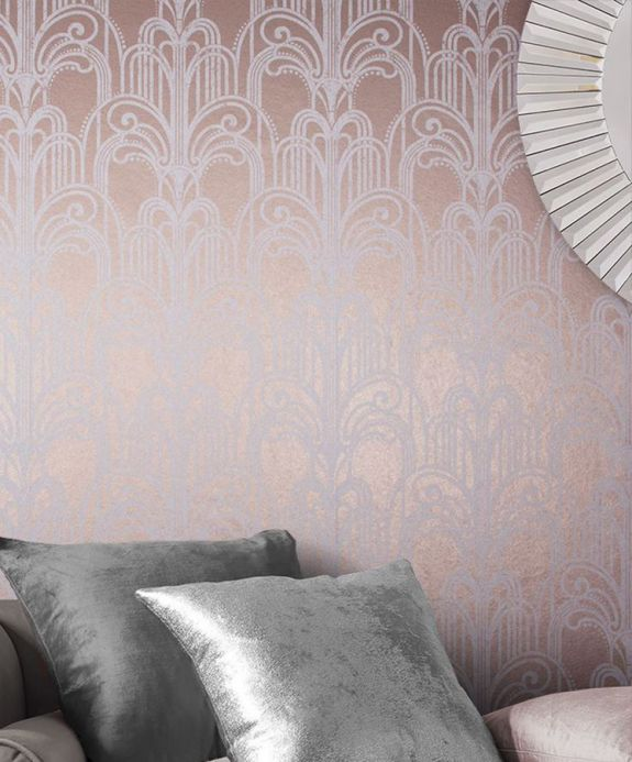 Bedroom Wallpaper Wallpaper Emilia pearlescent beige-red Room View
