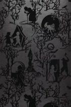 Papel de parede Zemargia Superficie base brilhante Personagens de contos de fadas Antracite Preto