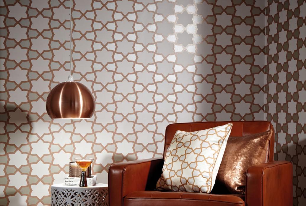 Wallpaper Tiberius Matt Small ornaments Pearl beige Cream Copper glitter