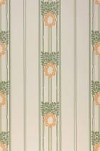 Papel pintado Imke Efecto impreso a mano Mate Hojas Flores Art nouveau Rayas Blanco crema Verde helecho Naranja amarillento Marrón oliva