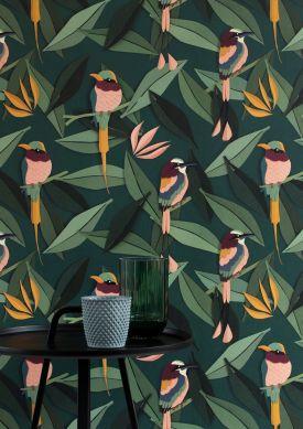 Papel pintado Singing Birds tonos de verde Raumansicht