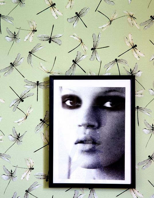 Carta da parati con animali Carta da parati Dragonfly verde pastello chiaro Visuale camera