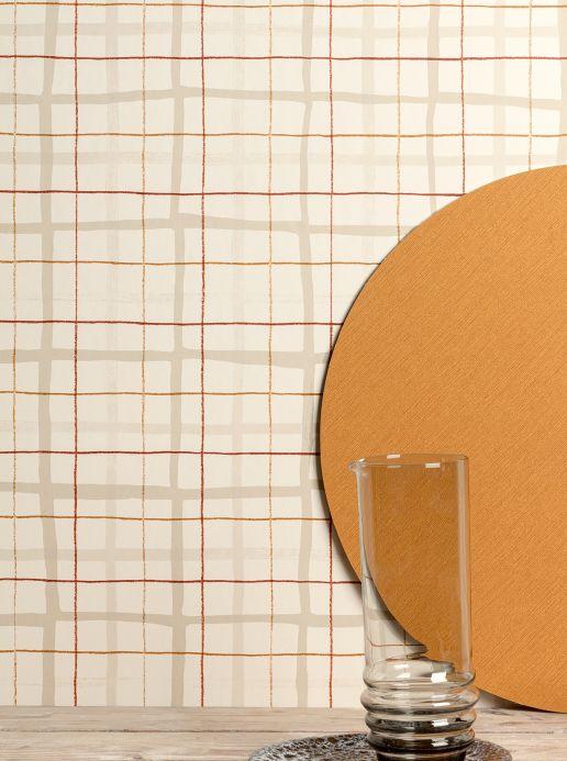 Papel pintado geométrico Papel pintado Betula beige grisáceo claro Ver habitación