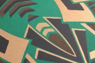 Papier peint Demetrius Mat Art Déco Éléments graphiques Vert Anthracite Doré brillant Brun terre