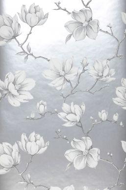 Papel de parede Magnolia cinza claro pérola Largura do rolo
