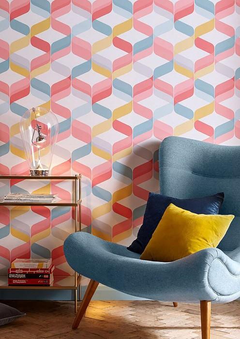 Papier peint Azuli Mat Design rétro Motif ondulé Blanc gris Jaune Gris clair  Turquoise menthe Rosé Rouge