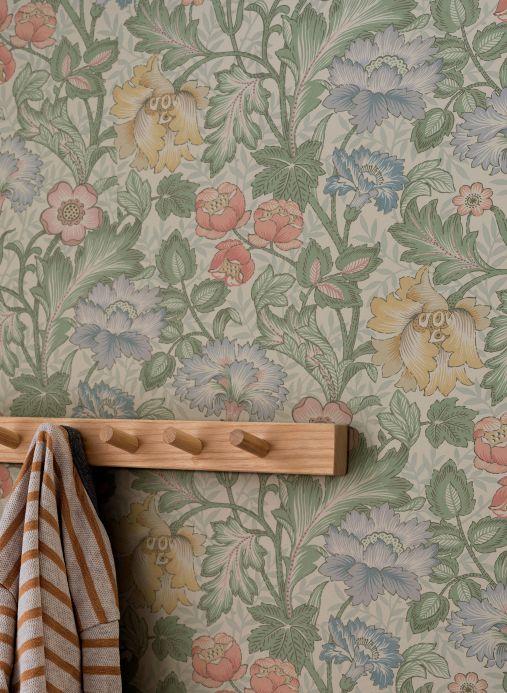 Florale Tapeten Wandbild Sigrid Blassgrün Raumansicht
