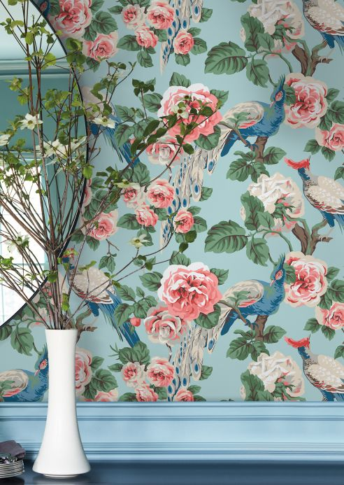 New arrivals! Wallpaper Abelia light pastel turquoise Room View