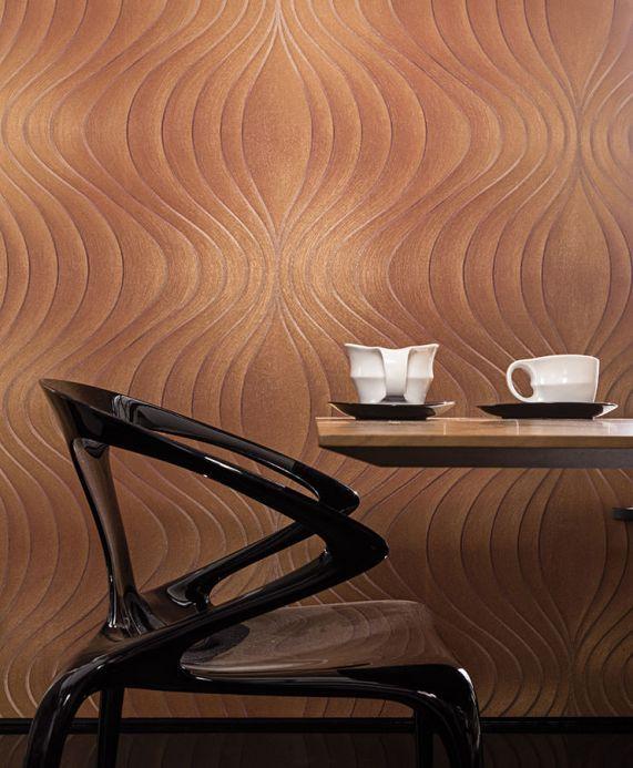 Papel de parede design Papel de parede Tirion marrom cobre Ver quarto
