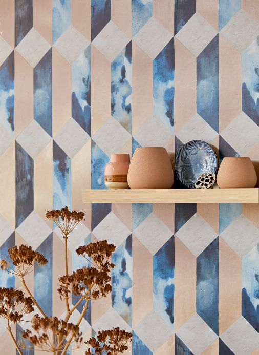Geometric Wallpaper Wallpaper Jerom shades of blue Room View