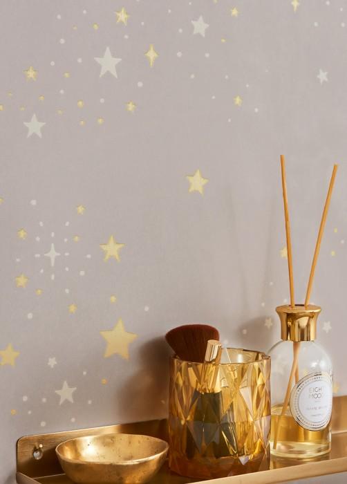 Papel pintado Twinkle Efecto impreso a mano Mate Cielo estrellado Gris claro  Blanco crema Amarillento claro brillante