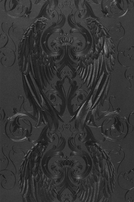Papel pintado damasco Papel pintado Morrigan negro Ancho rollo