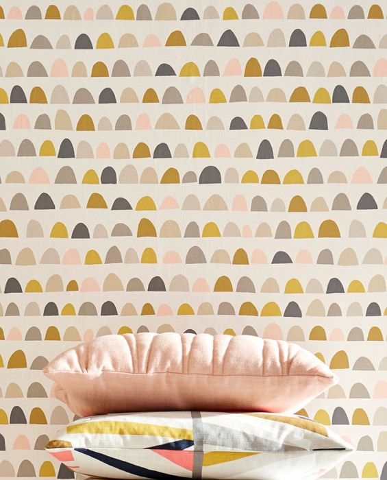 Wallpaper Pria Matt Graphic elements Cream Beige grey Grey Green brown Light pink Honey yellow