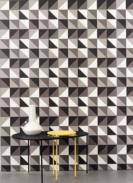 Wallpaper Remix Matt Geometrical shapes Beige grey Cream Light grey Black
